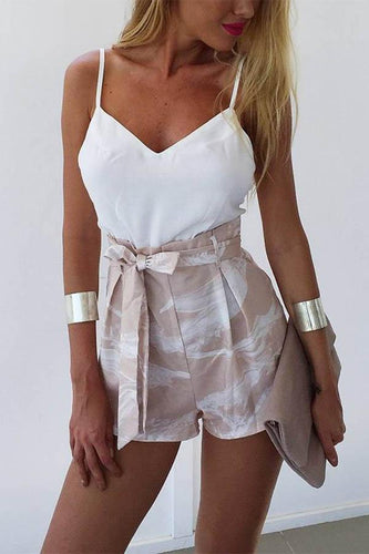 White Fashion Spaghetti Strap Romper Playsuit