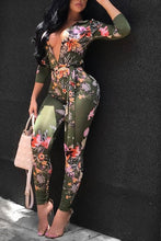 Sexy Deep V Neck Floral Print Skinny Jumpsuits