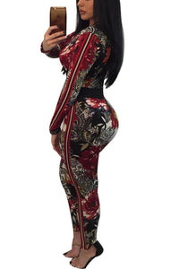 Floral Print Long Sleeves Deep V Jumpsuits