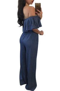 Dark Blue Flounced Off Shoulder Denim Jumpsuit