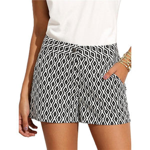 Casual Black And White Stripes Short Pants