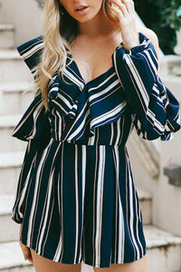Stripes Ruffled Open Shoulder Irregular Romper Playsuit
