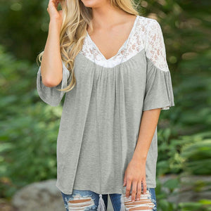 Drawstring Lace Patchwork T-Shirt