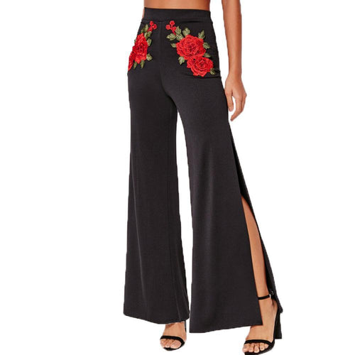 Fashion Embroidery Pure Color High Waist Pants