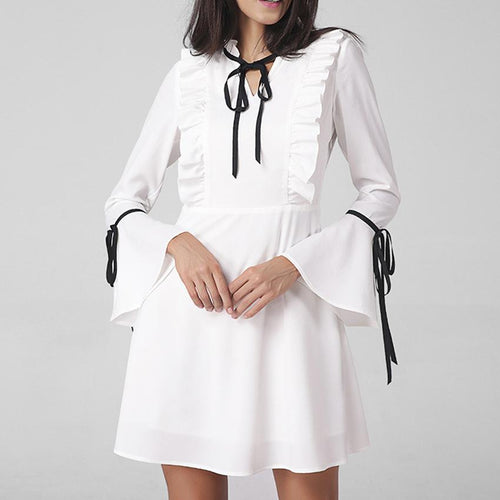 Horn Sleeve V Collar A-Line Skirt Work Dress