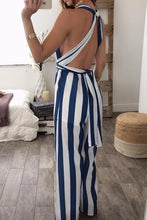 Sexy Fashion Halter Backless Striped Jumpsuit