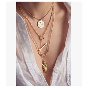 Female European and American fashion multi-layer exaggerated necklace