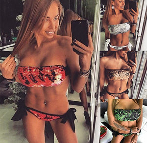 Sequin Wrapped Chest Bikini Two Piece Swimwear