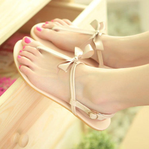Sweet Pure Color Clip Toe Sandals With Bow-Knot