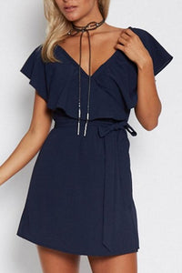 V Neck  Flounce  Belt  Plain  Short Sleeve Casual Dresses