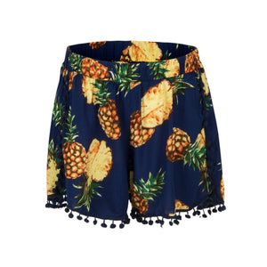 Sexy Fringe Printed Elastic Wide Leg Short Pants