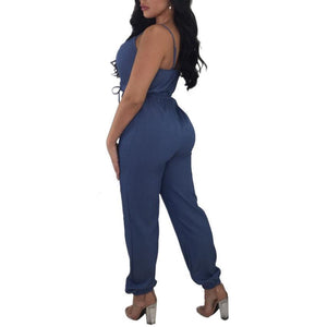 Strap Low Chest Deep V Wide Leg Denim Jumpsuit