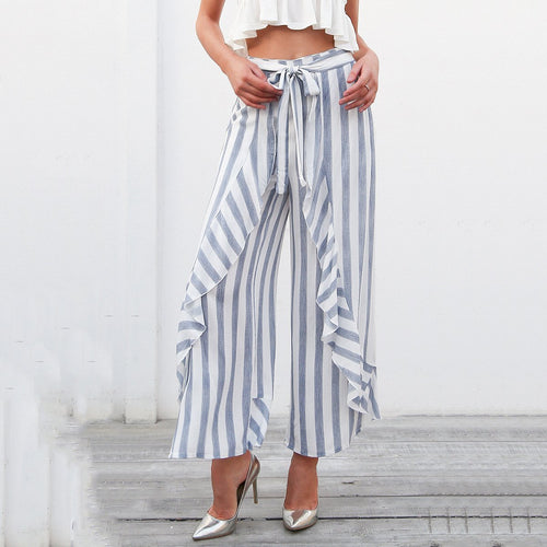 Stripe Fold High Waist Wide Leg Pants