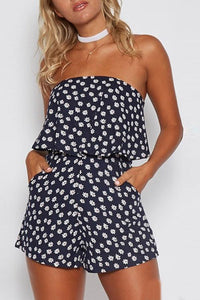 Sexy Sleeveless Floral Print Playsuit Rompers