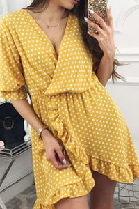V Neck Tiered  Dot  Puff Sleeve  Half Sleeve Casual Dresses