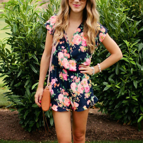 V Collar Short Sleeve Sexy Printed Rompers Playsuit