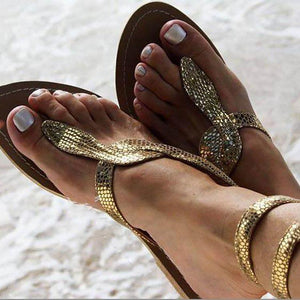 Sexy Serpentine Clip Toe Flat Sandals