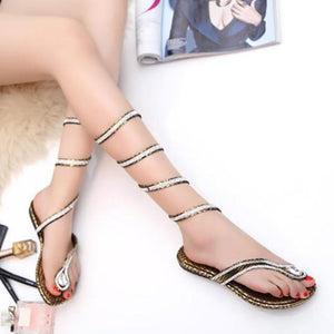 Sexy Snake-Wound Rhinestone Clip Toe Sandals