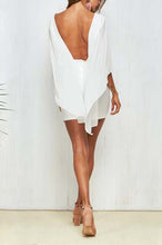Fashion White Backless Irregular Shift Dress