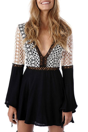 Sexy Long Sleeves Splicing Lace Mini Dress