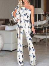 Fashion One Shoulder Slit Sleeve Jumpsuit
