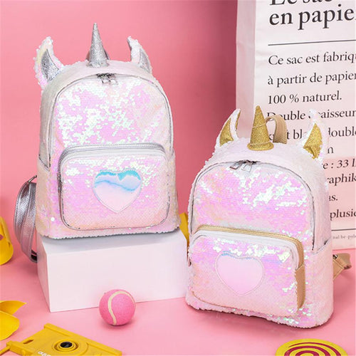Sequined laser cute unicorn backpack