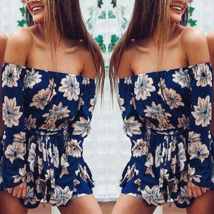 Sexy Off-Shoulder Printed Jumpsuit