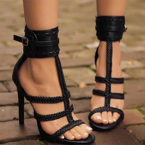Sexy Pure Color Woven Slim High Heel Sandals