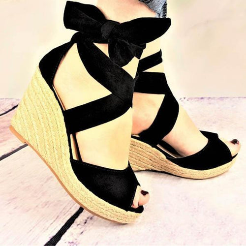 Sexy Pure Color Wedge Bandages Sandals