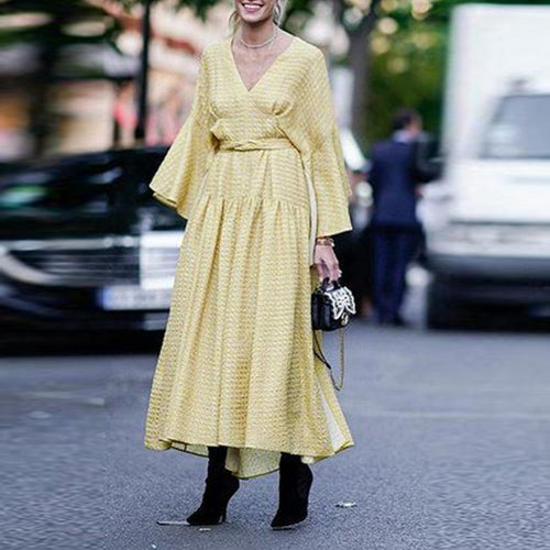 Elegant V Neck Flare Sleeve Maxi Dress