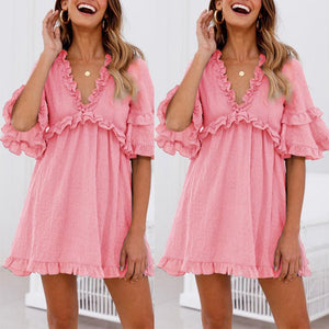 V Neck Half Sleeve Plain Ruffles Casual Dress