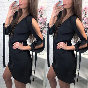 V Neck Hollow Out Plain Lace Up Casual Dress