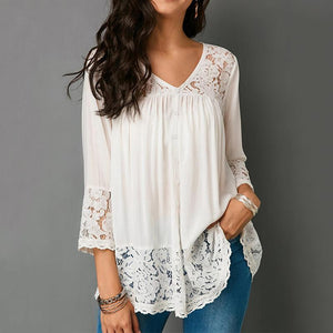 Lace Patchwork Three Quarter Blouse