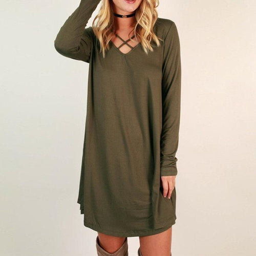 V Neck Cross Plain Long Sleeve Casual Dress