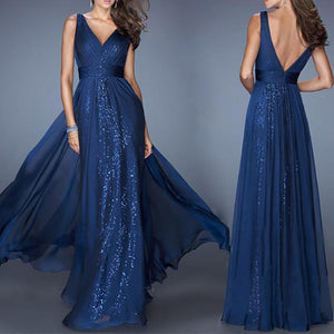 V-Neck Backless Waist Mesh Evening Dress