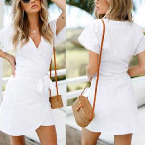Sexy White Short Sleeves Bandage Mini Dress