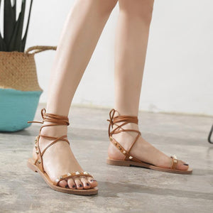 Bandage Roman Flat Studs Fashion Open Toe Beach Sandals