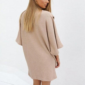 Turtle Neck Half Sleeve Knitting Casual Dress