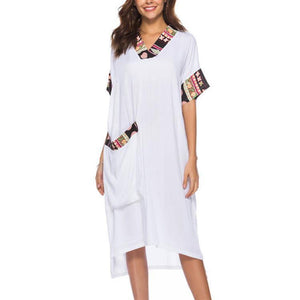 Casual V Collar Short Sleeve Loose Shift Dress With Pockets