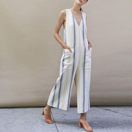 V Neck Backless Print Sleeveless Jumpsuits