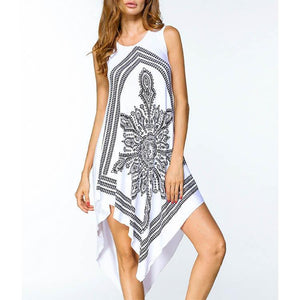 Folk-Custom Round Collar Sleeveless Digital Printing Irregular Shift Dress