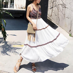 Bohemian V Collar Embroidery Strap Shift Dress