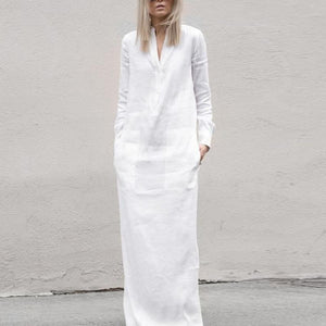White Linen Long Sleeves  Maxi Dress