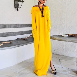 Off Shoulder  Long Sleeve Maxi Dresses
