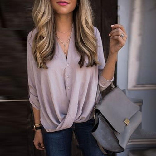 V-Neck Roll Up Sleeve  Pure Shirt