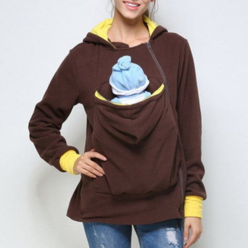 Brown Removable Multifunctional Kangaroo Hoodie