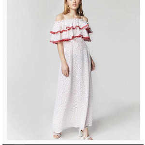 Wave Point Falbala Condole Belt Vacation Maxi Dress