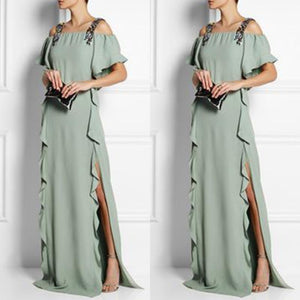 Sexy Fashion Light Green Plain Maxi Dress
