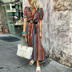 Button Down Collar  Stripes  Short Sleeve Maxi Dresses