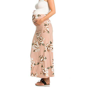 Maternity High Waisted Floral Maxi Skirt